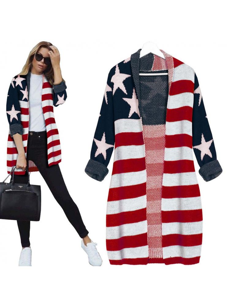 KARDIGAN Z MOTYWEM FLAGI USA